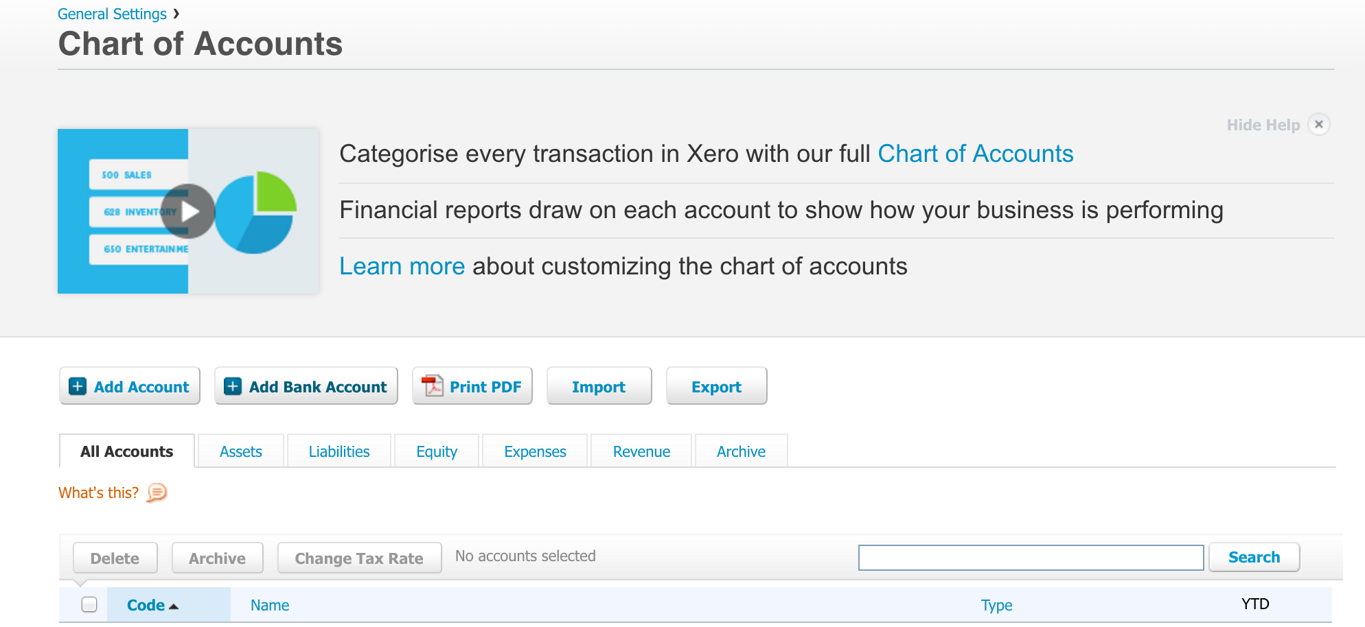 Xero Chart of Accounts Screenshot- Dashboard Watchlist