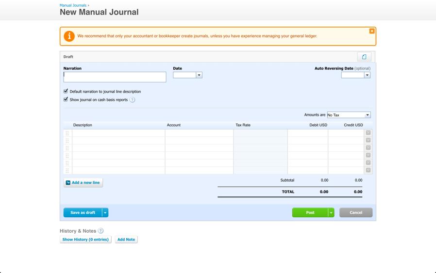 Xero Manual Journal Entry - Accountingprose