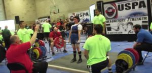 Kristie, smashing weights at a powerlifting conference