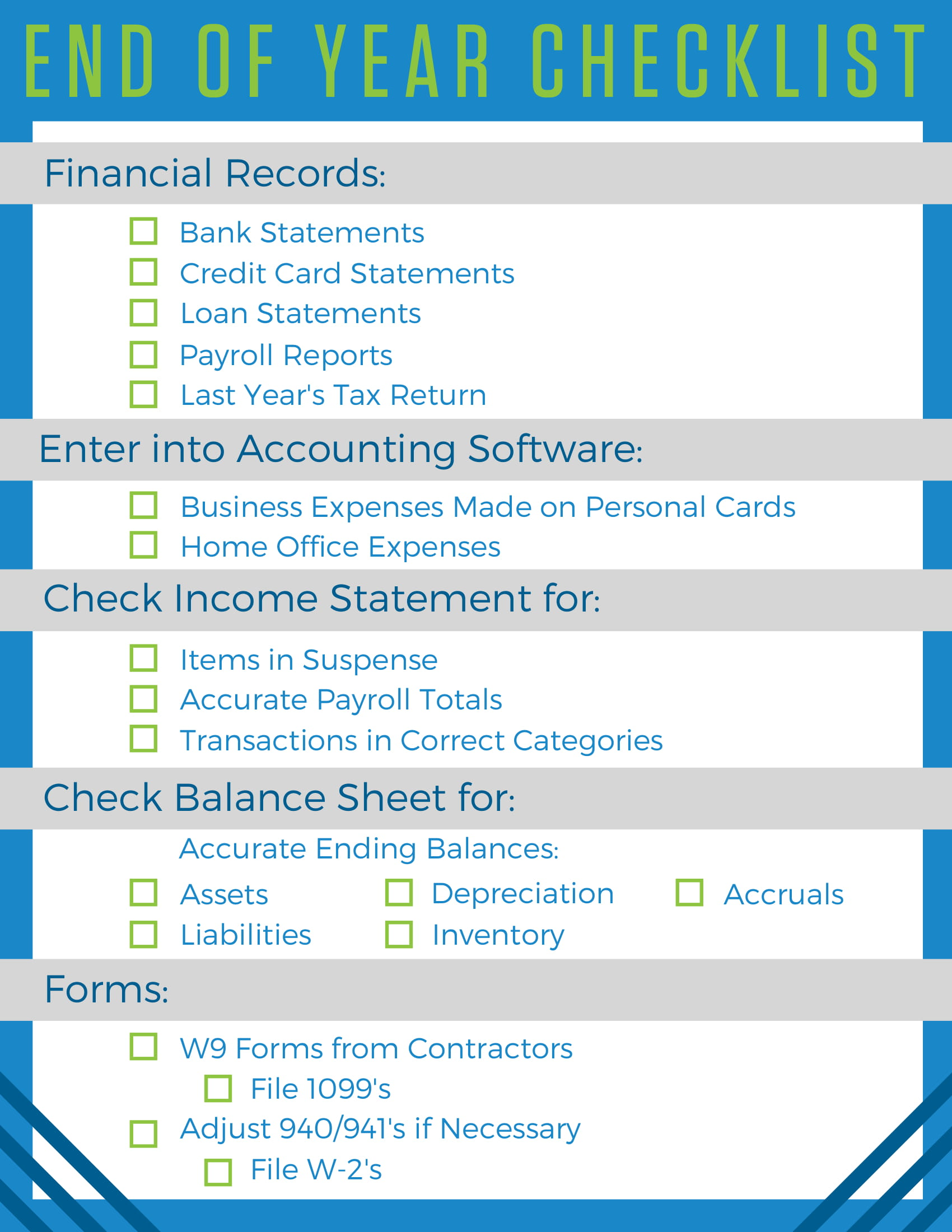 An end of year checklist for small business owners accountingprose we made a downloadable and printable end of year checklist to keep you on track to see all the tasks without all the words download it and get them all reheart Choice Image